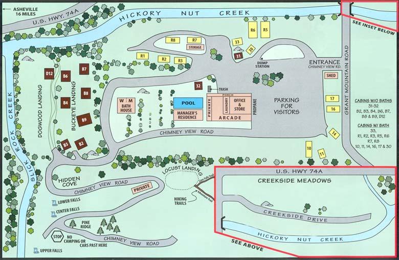 Full Map | All Cabins | Cabins   No Bath | Cabins   Bath | RV Sites | Tent  Sites | Tents   W/E | Tents   No Hookups