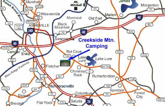 Creekside Mountain Camping Directions